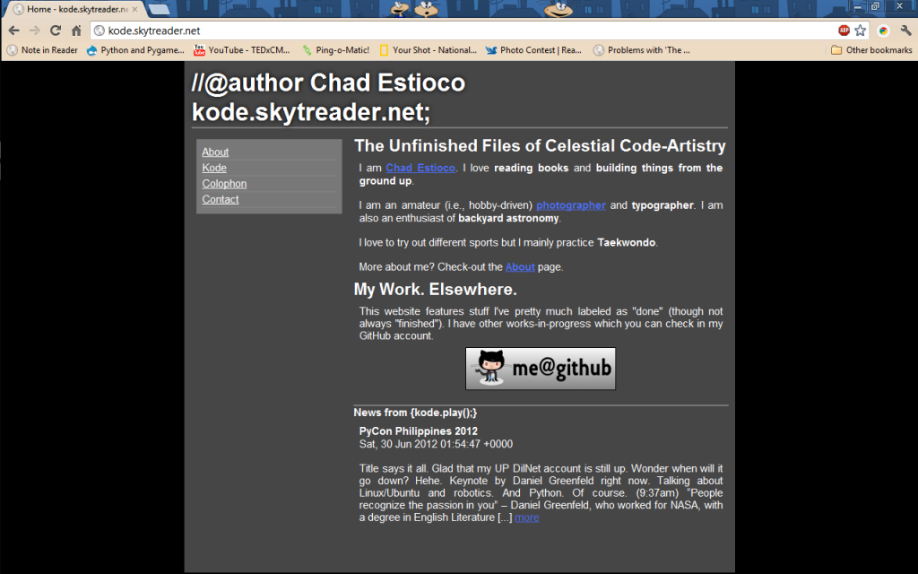 kode.skytreader.net in Google Chrome