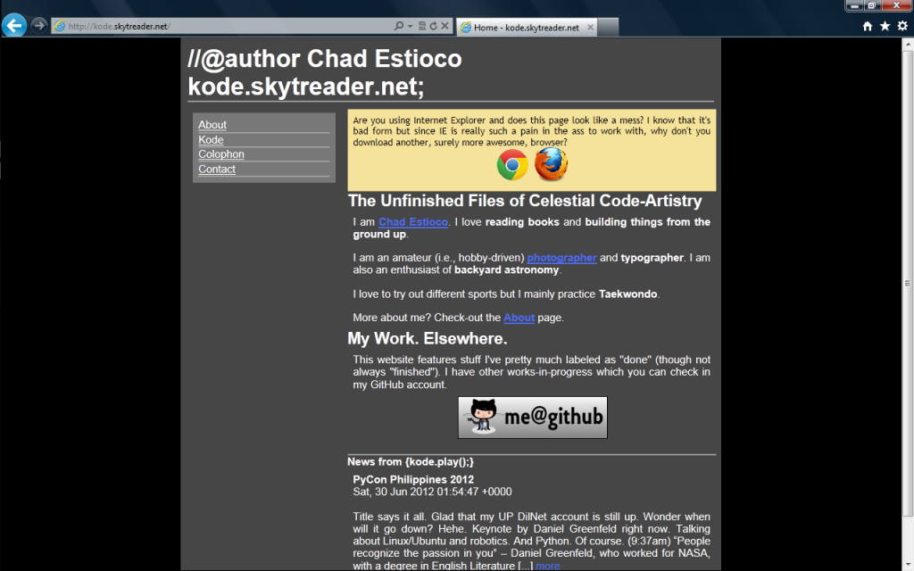 kode.skytreader.net in IE9, post DOCTYPE