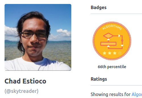 66th percentile on HackerRank